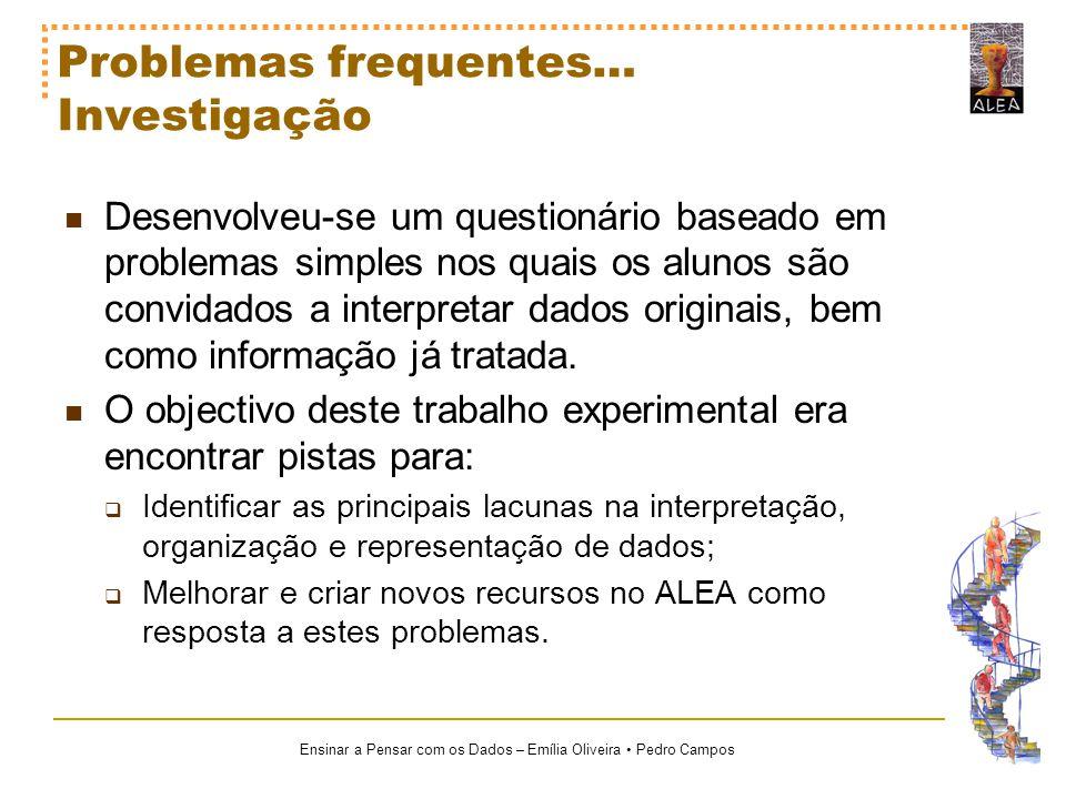 Ensinar a Pensar com os Dados – Emília Oliveira Pedro Campos O Papel do ALEA Dos materiais e recursos já criados, o ALEA disponibiliza a par dos conteúdos científicos, um conjunto de estatísticas que permitem reforçar o elo entre o ensino da Estatística e as estatísticas.
