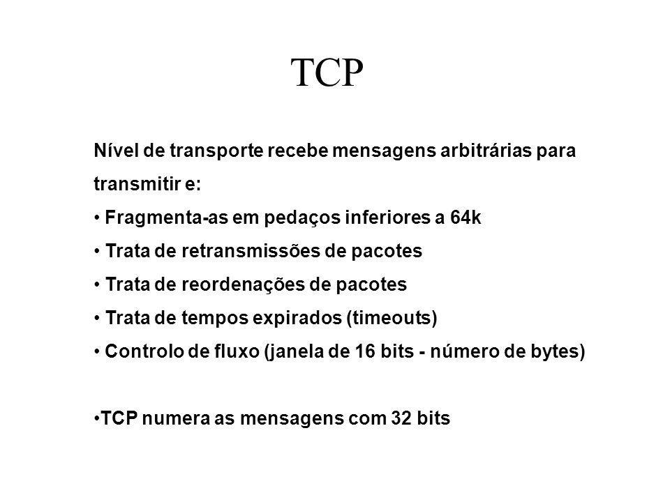 TCP Nível de transporte recebe mensagens arbitrárias para transmitir e: Fragmenta-as em pedaços inferiores a 64k Trata de retransmissões de pacotes Trata de reordenações de pacotes Trata de tempos expirados (timeouts) Controlo de fluxo (janela de 16 bits - número de bytes) TCP numera as mensagens com 32 bits