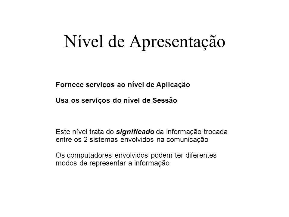 Nível de Apresentação Fornece serviços ao nível de Aplicação Usa os serviços do nível de Sessão Este nível trata do significado da informação trocada