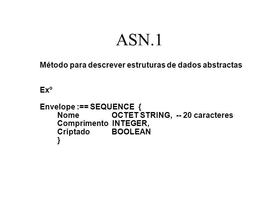 ASN.1 Método para descrever estruturas de dados abstractas Exº Envelope :== SEQUENCE { Nome OCTET STRING, -- 20 caracteres Comprimento INTEGER, Criptado BOOLEAN }