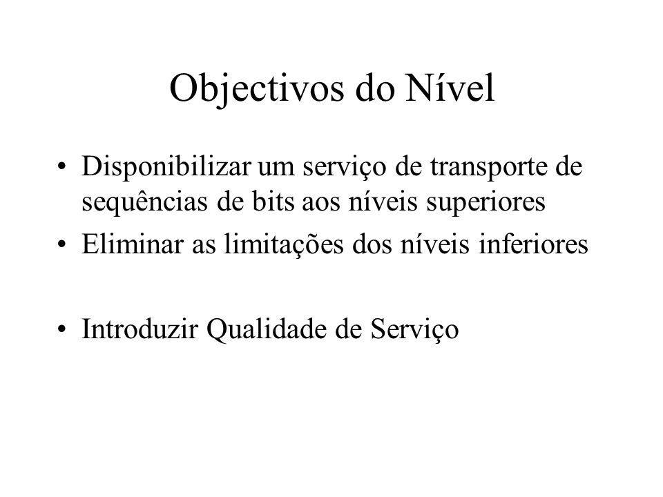 Objectivos do Nível Disponibilizar um serviço de transporte de sequências de bits aos níveis superiores Eliminar as limitações dos níveis inferiores Introduzir Qualidade de Serviço