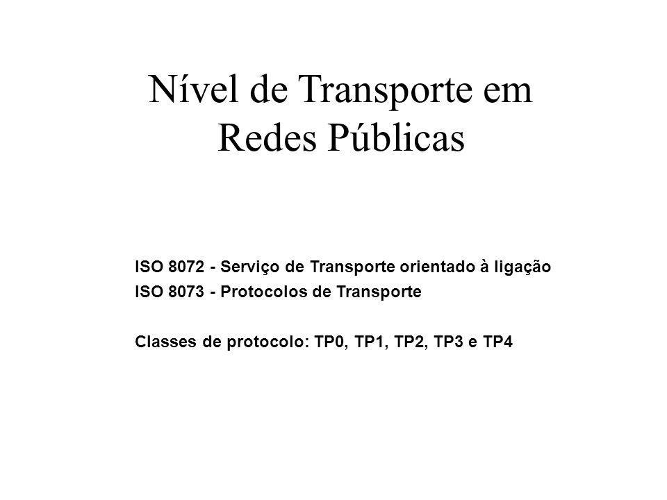 Nível de Transporte em Redes Públicas ISO 8072 - Serviço de Transporte orientado à ligação ISO 8073 - Protocolos de Transporte Classes de protocolo: T