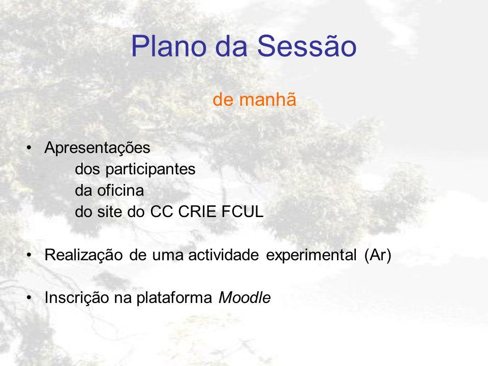 Plano da Sessão de manhã Apresentações dos participantes da oficina do site do CC CRIE FCUL Realização de uma actividade experimental (Ar) Inscrição n