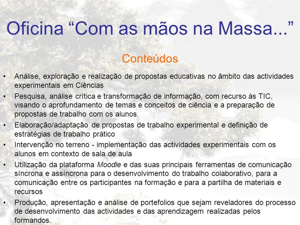 Oficina Com as mãos na Massa... Conteúdos Análise, exploração e realização de propostas educativas no âmbito das actividades experimentais em Ciências