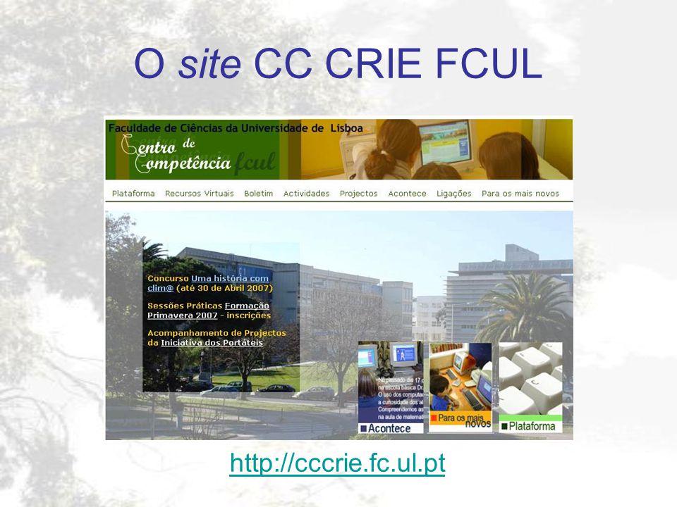 O site CC CRIE FCUL http://cccrie.fc.ul.pt