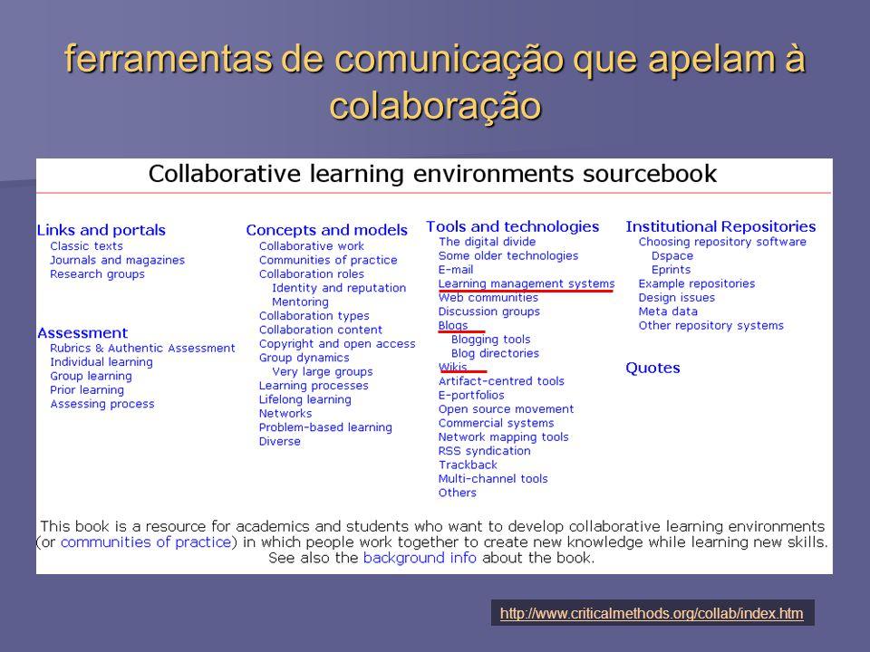 ferramentas de comunicação que apelam à colaboração http://www.criticalmethods.org/collab/index.htm