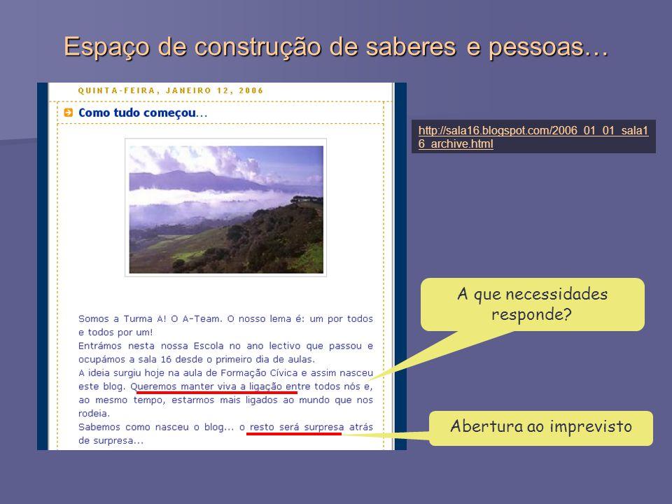 http://sala16.blogspot.com/2006_01_01_sala1 6_archive.html Espaço de construção de saberes e pessoas… A que necessidades responde.