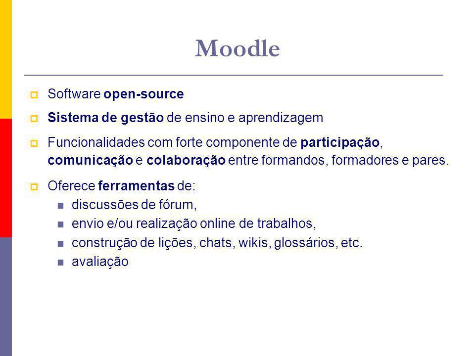 Moodle Software open-source Sistema de gestão de ensino e aprendizagem Funcionalidades com forte componente de participação, comunicação e colaboração entre formandos, formadores e pares.
