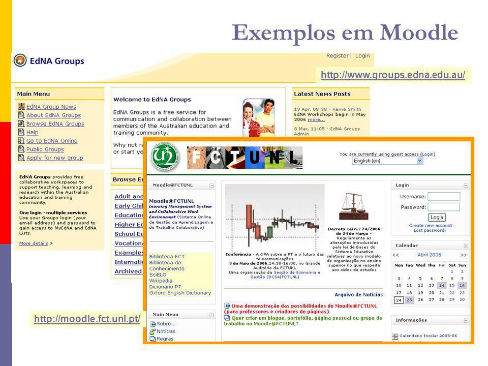 http://www.groups.edna.edu.au/ http://moodle.fct.unl.pt/ Exemplos em Moodle