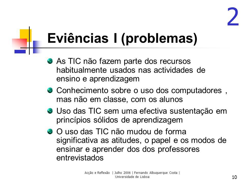 Acção e Reflexão | Julho 2006 | Fernando Albuquerque Costa | Universidade de Lisboa 10 Eviências I (problemas) As TIC não fazem parte dos recursos hab