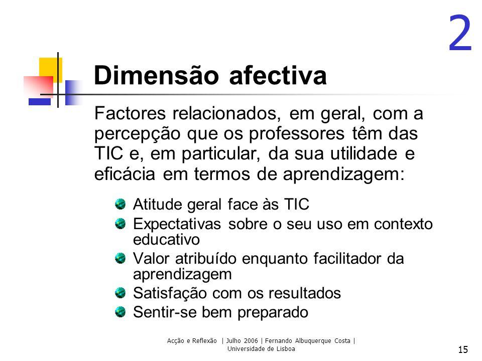 Acção e Reflexão | Julho 2006 | Fernando Albuquerque Costa | Universidade de Lisboa 15 Dimensão afectiva Atitude geral face às TIC Expectativas sobre