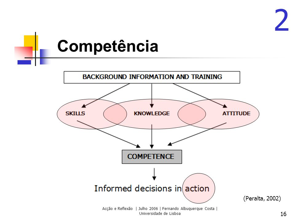 Acção e Reflexão | Julho 2006 | Fernando Albuquerque Costa | Universidade de Lisboa 16 Competência 2 (Peralta, 2002)