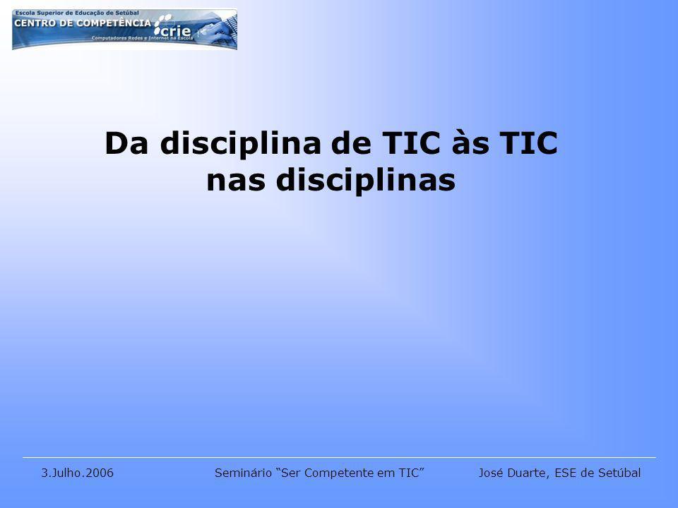 José Duarte, ESE de Setúbal3.Julho.2006Seminário Ser Competente em TIC Da disciplina de TIC às TIC nas disciplinas