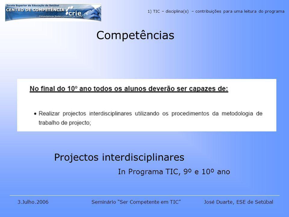 José Duarte, ESE de Setúbal3.Julho.2006Seminário Ser Competente em TIC Competências Projectos interdisciplinares In Programa TIC, 9º e 10º ano 1) TIC – disciplina(s) – contribuições para uma leitura do programa