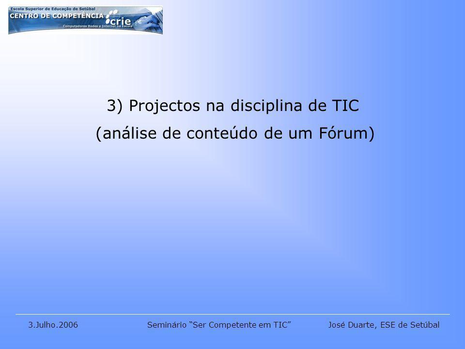José Duarte, ESE de Setúbal3.Julho.2006Seminário Ser Competente em TIC 3) Projectos na disciplina de TIC (análise de conteúdo de um Fórum)