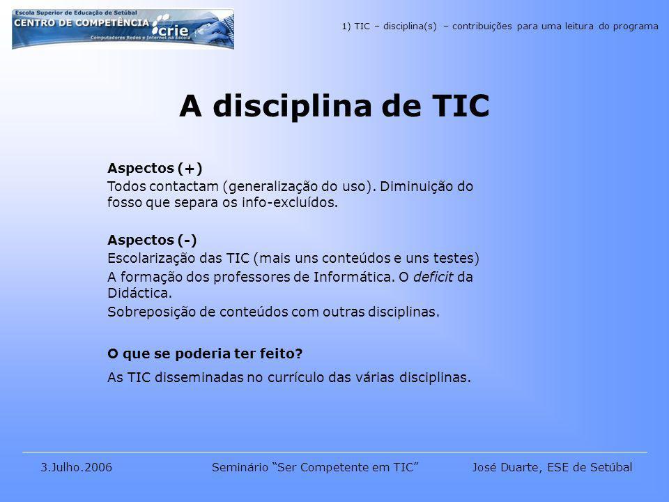 José Duarte, ESE de Setúbal3.Julho.2006Seminário Ser Competente em TIC A disciplina de TIC Aspectos (+) Todos contactam (generalização do uso).