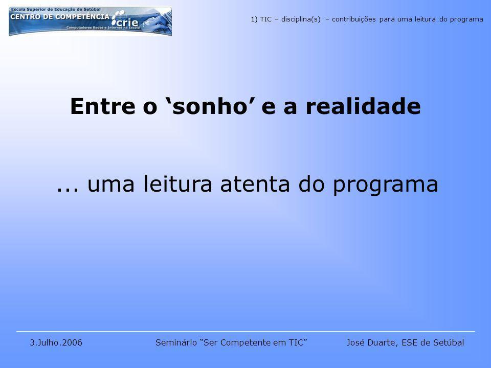 José Duarte, ESE de Setúbal3.Julho.2006Seminário Ser Competente em TIC Entre o sonho e a realidade...