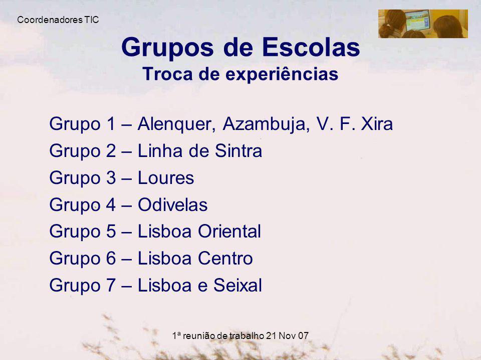 1ª reunião de trabalho 21 Nov 07 Grupos de Escolas Troca de experiências Grupo 1 – Alenquer, Azambuja, V.