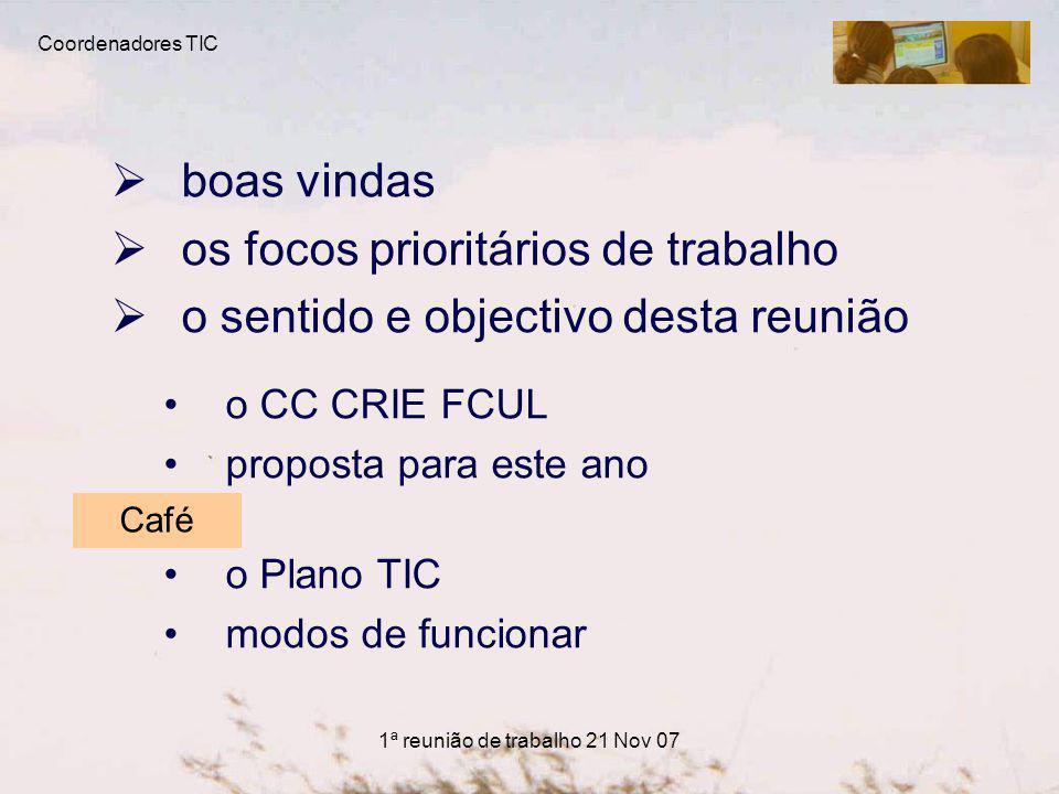 1ª reunião de trabalho 21 Nov 07 boas vindas os focos prioritários de trabalho o sentido e objectivo desta reunião o CC CRIE FCUL proposta para este ano o Plano TIC modos de funcionar Coordenadores TIC Café