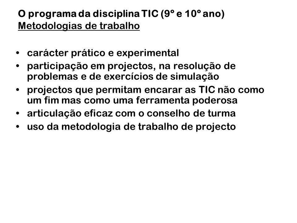 carácter prático e experimental participação em projectos, na resolução de problemas e de exercícios de simulação projectos que permitam encarar as TI