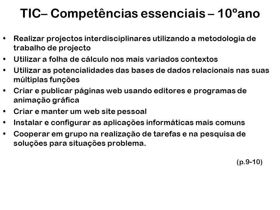 TIC– Competências essenciais – 10ºano Realizar projectos interdisciplinares utilizando a metodologia de trabalho de projecto Utilizar a folha de cálcu