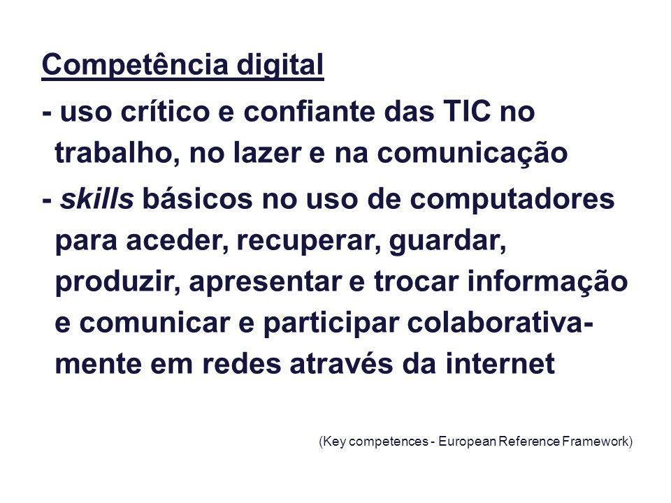 Competência digital - uso crítico e confiante das TIC no trabalho, no lazer e na comunicação - skills básicos no uso de computadores para aceder, recu