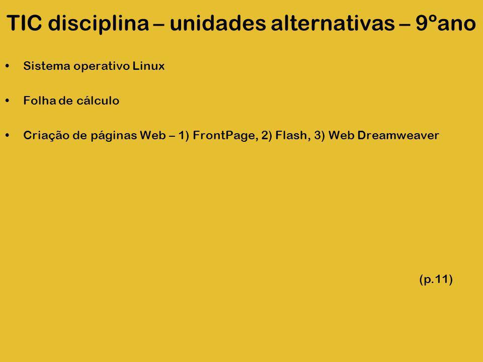 TIC disciplina – unidades alternativas – 9ºano Sistema operativo Linux Folha de cálculo Criação de páginas Web – 1) FrontPage, 2) Flash, 3) Web Dreamw