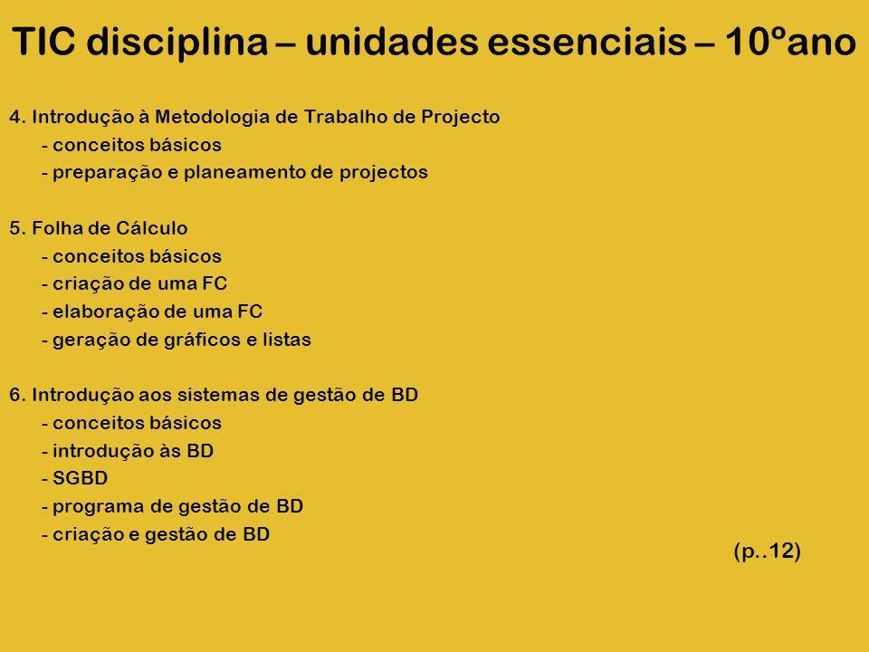 TIC disciplina – unidades essenciais – 10ºano 4. Introdução à Metodologia de Trabalho de Projecto - conceitos básicos - preparação e planeamento de pr