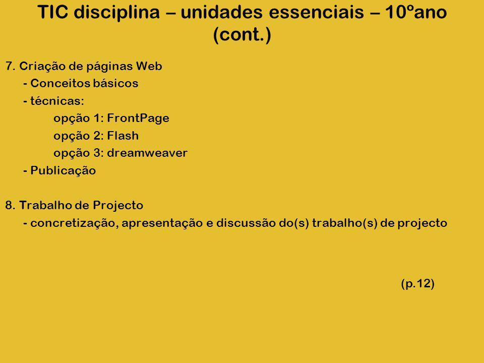 TIC disciplina – unidades essenciais – 10ºano (cont.) 7. Criação de páginas Web - Conceitos básicos - técnicas: opção 1: FrontPage opção 2: Flash opçã