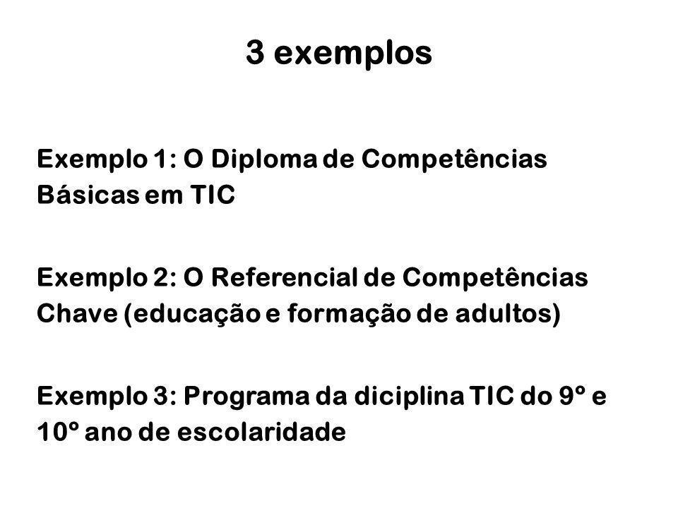 Exemplo 1: O Diploma de Competências Básicas em TIC Exemplo 2: O Referencial de Competências Chave (educação e formação de adultos) Exemplo 3: Program