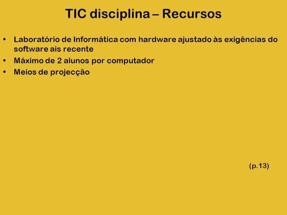 TIC disciplina – Recursos Laboratório de Informática com hardware ajustado às exigências do software ais recente Máximo de 2 alunos por computador Mei