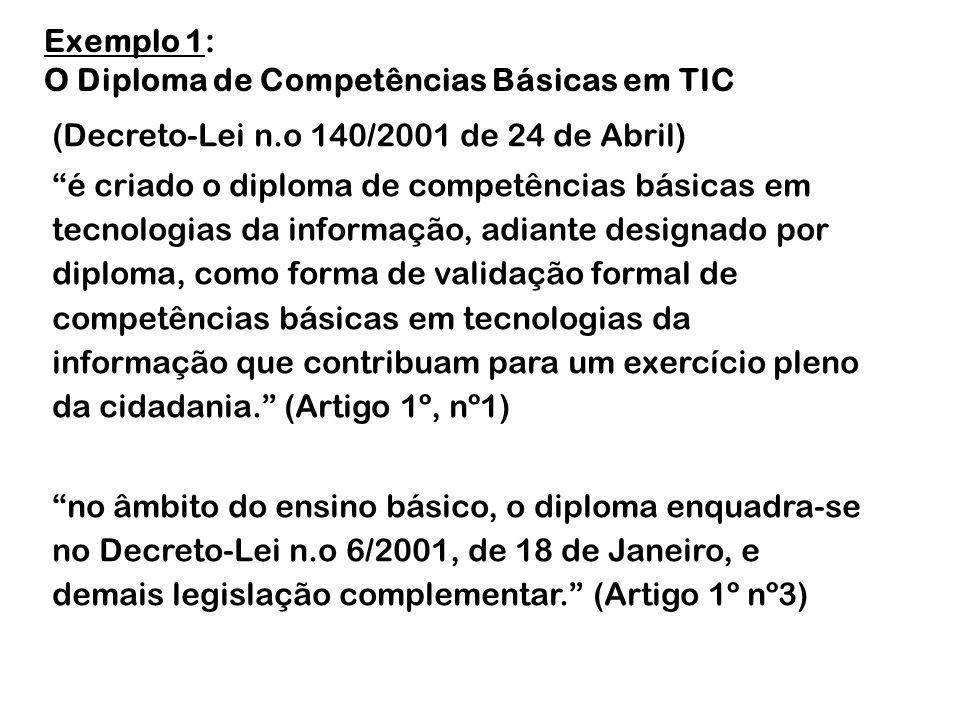 (Decreto-Lei n.o 140/2001 de 24 de Abril) é criado o diploma de competências básicas em tecnologias da informação, adiante designado por diploma, como