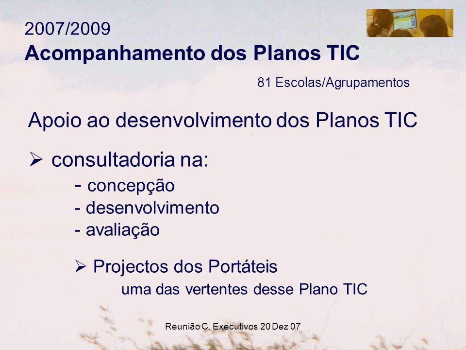 Reunião C. Executivos 20 Dez 07 2007/2009 Acompanhamento dos Planos TIC 81 Escolas/Agrupamentos Apoio ao desenvolvimento dos Planos TIC consultadoria