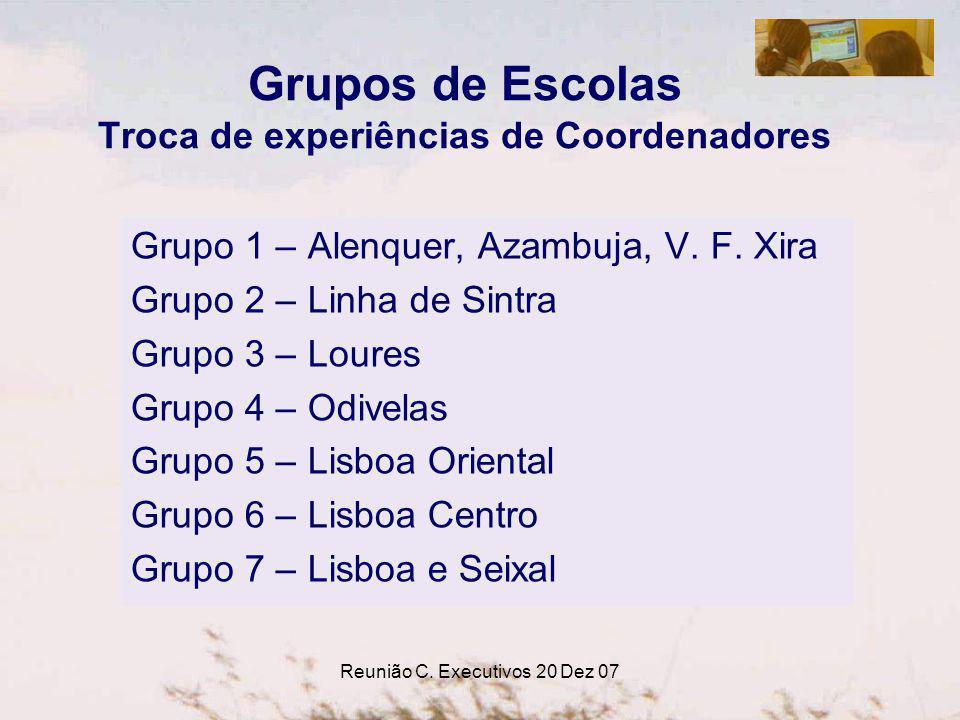 Reunião C. Executivos 20 Dez 07 Grupos de Escolas Troca de experiências de Coordenadores Grupo 1 – Alenquer, Azambuja, V. F. Xira Grupo 2 – Linha de S