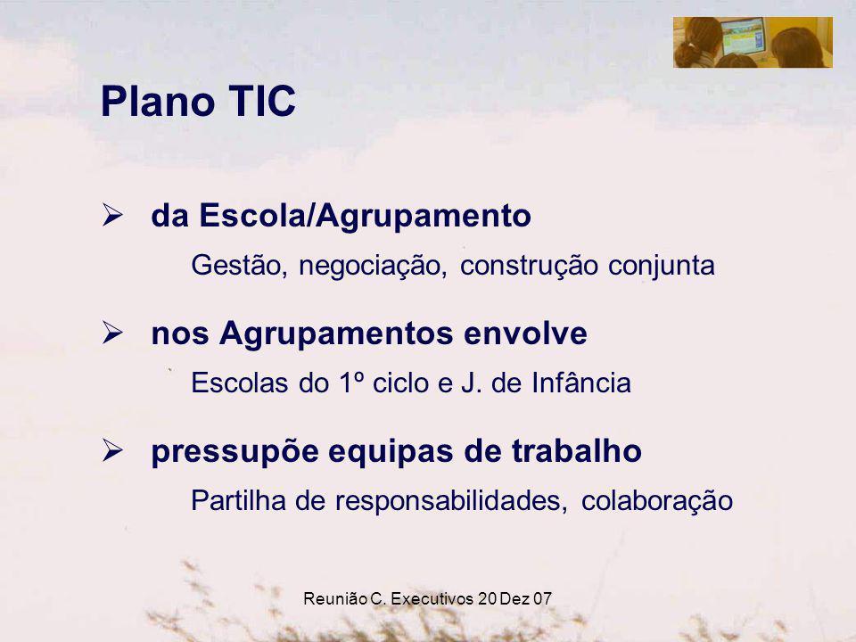Reunião C. Executivos 20 Dez 07 Plano TIC da Escola/Agrupamento Gestão, negociação, construção conjunta nos Agrupamentos envolve Escolas do 1º ciclo e