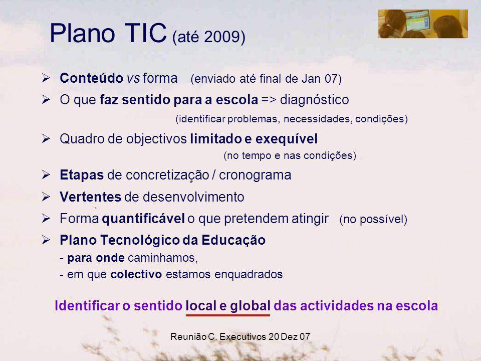 Reunião C. Executivos 20 Dez 07 Conteúdo vs forma (enviado até final de Jan 07) O que faz sentido para a escola => diagnóstico (identificar problemas,