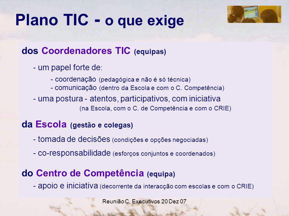 Reunião C. Executivos 20 Dez 07 Plano TIC - o que exige dos Coordenadores TIC (equipas) - um papel forte de : - coordenação (pedagógica e não é só téc