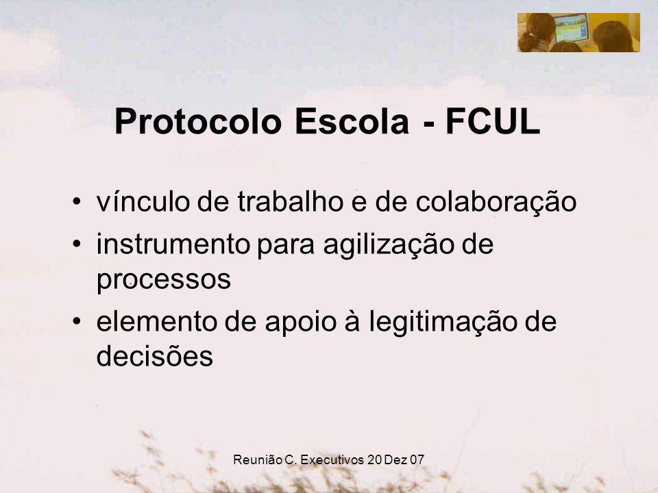 Reunião C. Executivos 20 Dez 07 Protocolo Escola - FCUL vínculo de trabalho e de colaboração instrumento para agilização de processos elemento de apoi