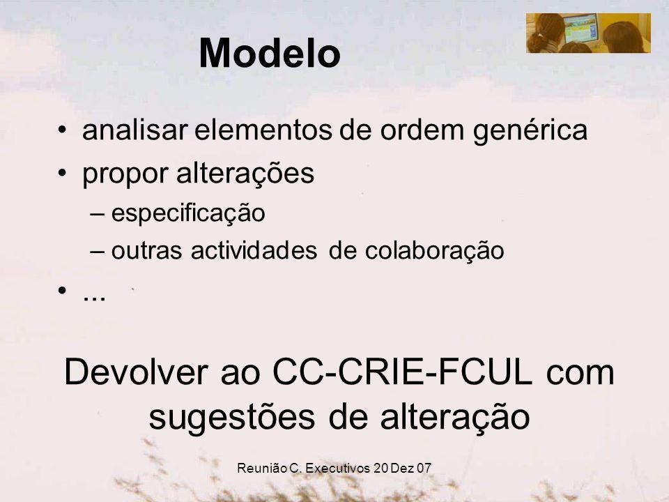 Reunião C. Executivos 20 Dez 07 Modelo analisar elementos de ordem genérica propor alterações –especificação –outras actividades de colaboração... Dev