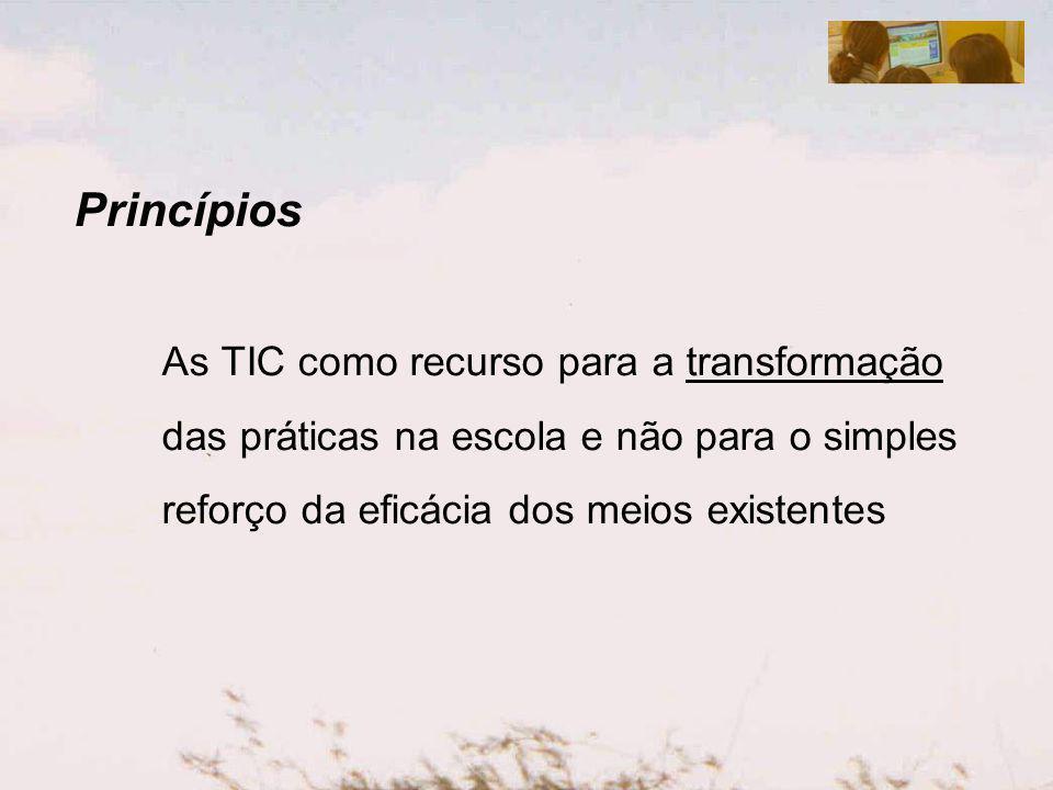 Princípios As TIC como recurso para a transformação das práticas na escola e não para o simples reforço da eficácia dos meios existentes