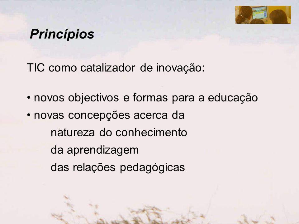 Princípios TIC como catalizador de inovação: novas formas de educação emergentes dos meios existentes e da necessidade de educar as crianças e os jovens para (e numa) cidadania crítica – educação para a sustentabilidade novas concepções acerca da natureza do conhecimento, da aprendizagem, das relações pedagógicas, do papel do professor, do papel dos pais, etc