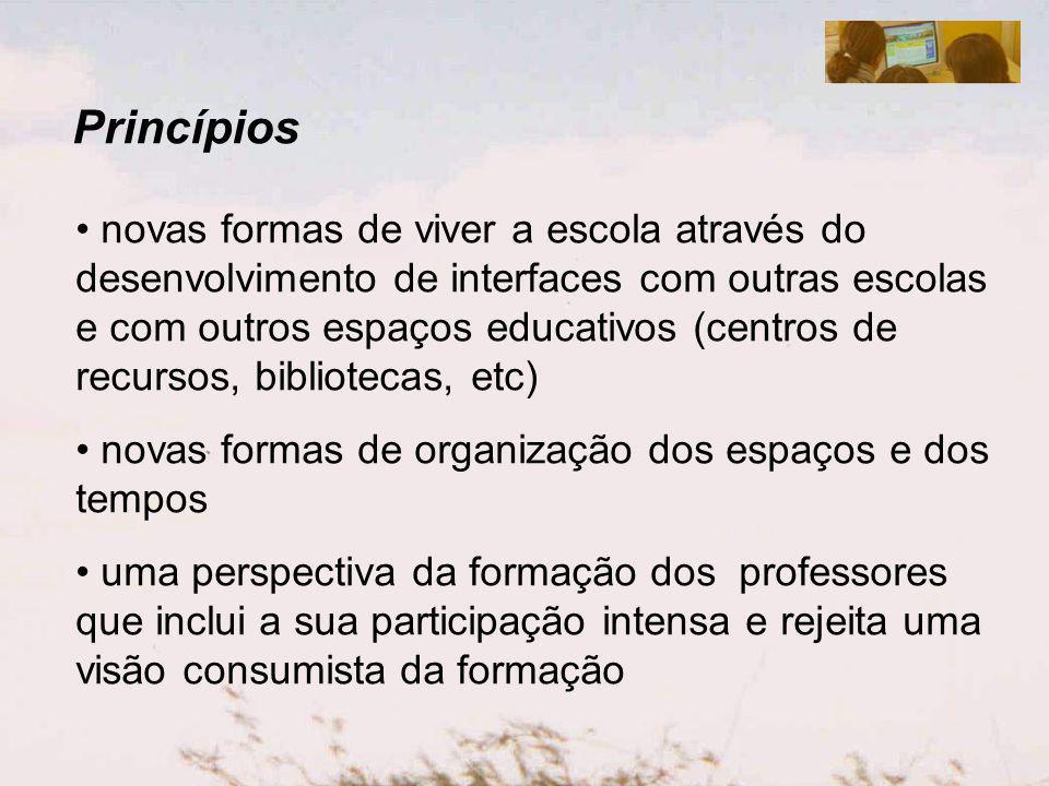 Princípios novas formas de viver a escola através do desenvolvimento de interfaces com outras escolas e com outros espaços educativos (centros de recu