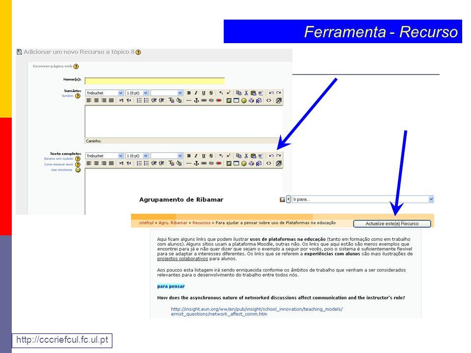 Ferramenta - Recurso http://cccriefcul.fc.ul.pt