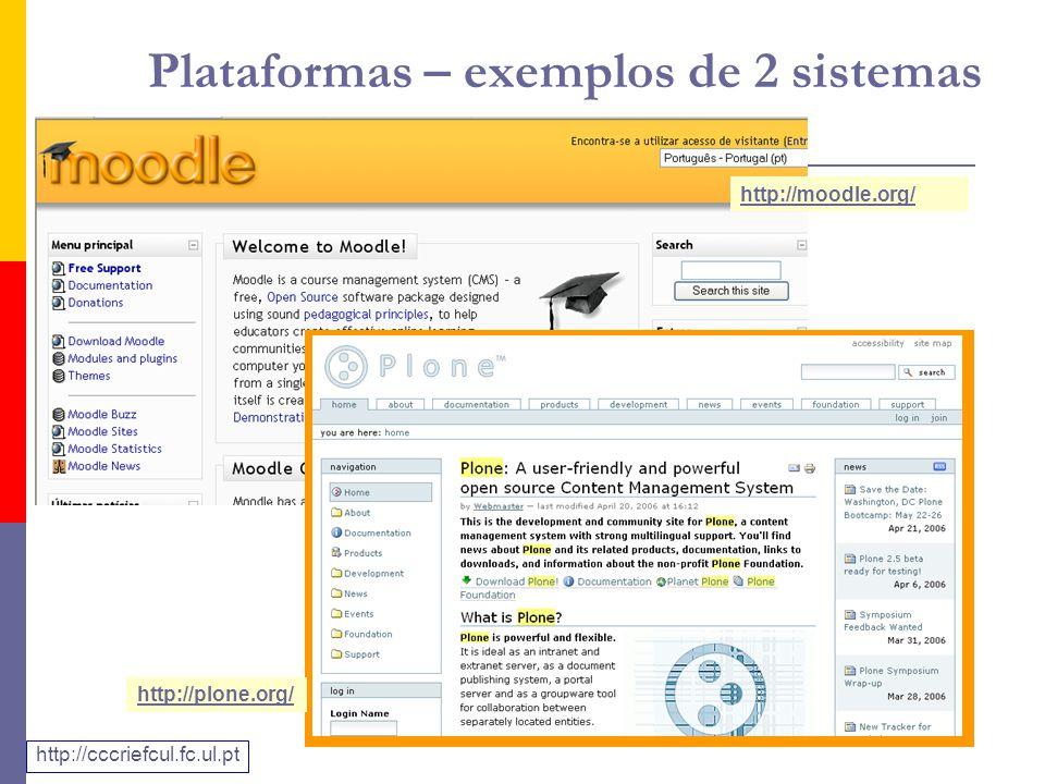 Plataformas – exemplos de 2 sistemas http://moodle.org/ http://plone.org/ http://cccriefcul.fc.ul.pt