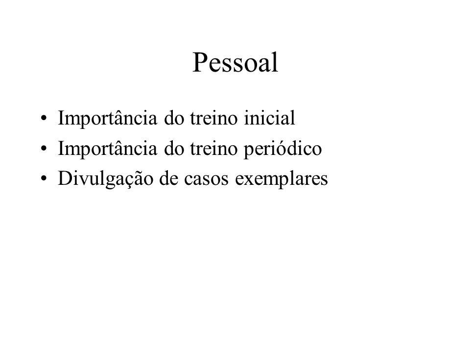 Pessoal Importância do treino inicial Importância do treino periódico Divulgação de casos exemplares