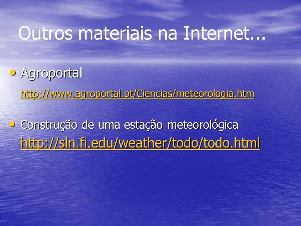 Outros materiais na Internet... Agroportal Agroportal http://www.agroportal.pt/Ciencias/meteorologia.htm Construção de uma estação meteorológica Const