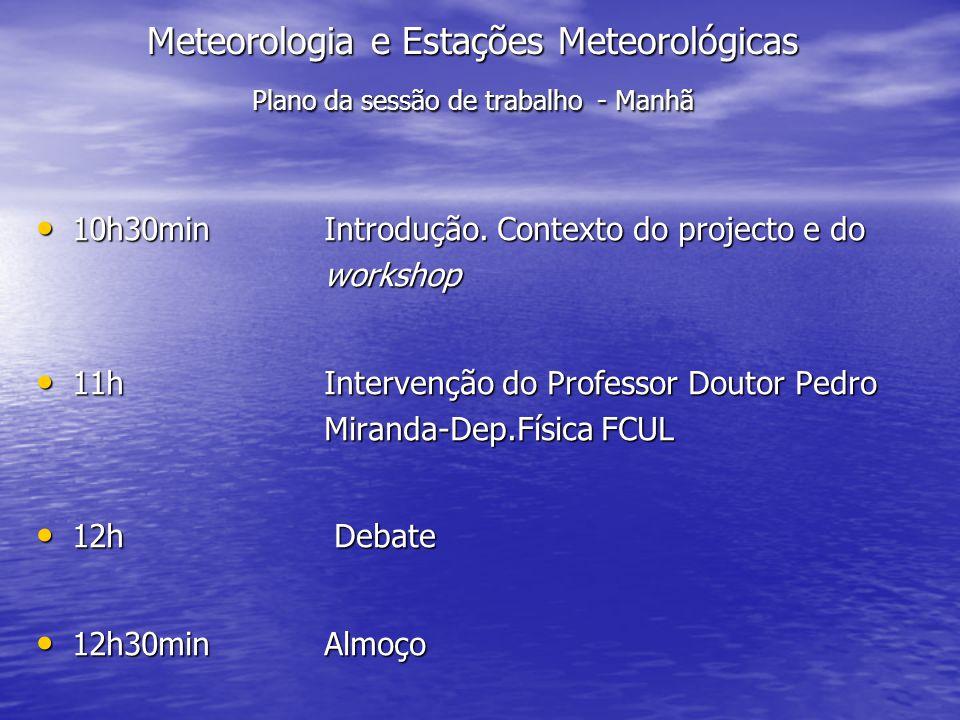 Meteorologia e Estações Meteorológicas Plano da sessão de trabalho - Manhã 10h30min Introdução. Contexto do projecto e do workshop 10h30min Introdução