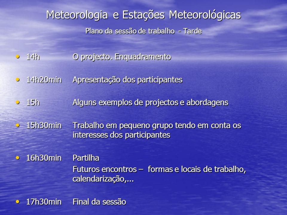 Meteorologia e Estações Meteorológicas Plano da sessão de trabalho - Tarde 14hO projecto. Enquadramento 14hO projecto. Enquadramento 14h20minApresenta