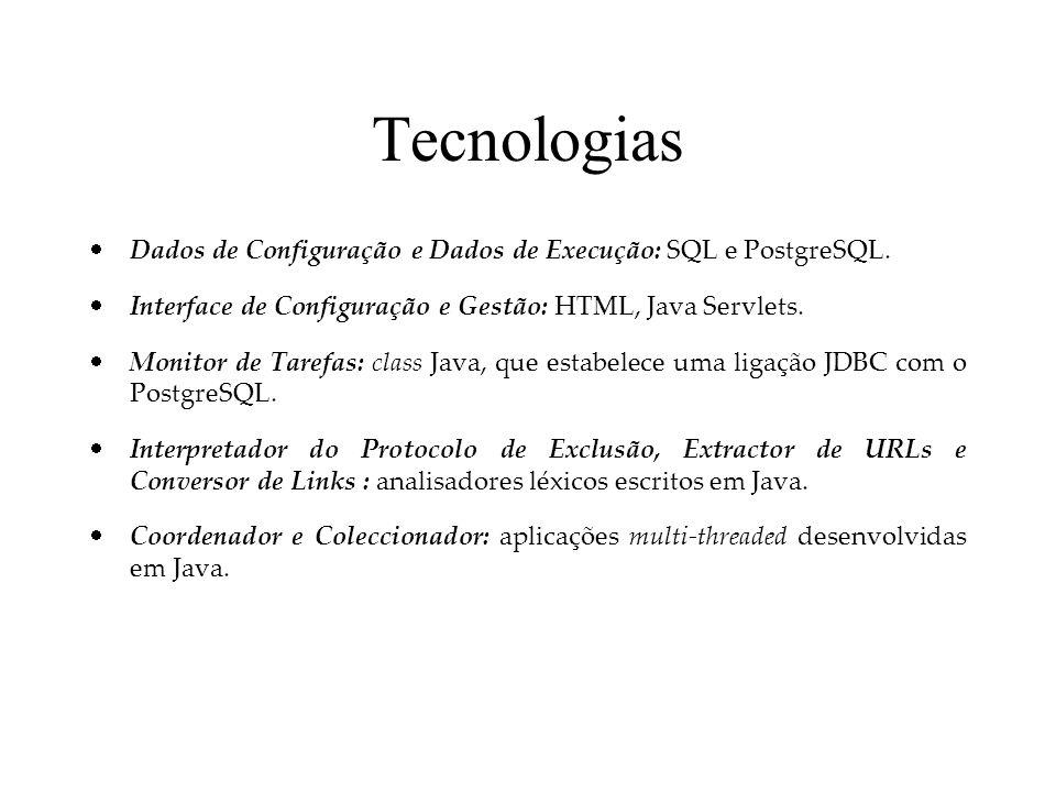 Tecnologias Dados de Configuração e Dados de Execução: SQL e PostgreSQL. Interface de Configuração e Gestão: HTML, Java Servlets. Monitor de Tarefas:
