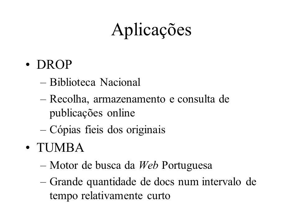 Aplicações DROP –Biblioteca Nacional –Recolha, armazenamento e consulta de publicações online –Cópias fieis dos originais TUMBA –Motor de busca da Web Portuguesa –Grande quantidade de docs num intervalo de tempo relativamente curto